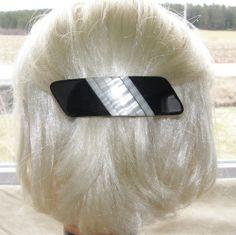 VTG HAIR CLIP GRIP BARRETTE HEAD PIECE EARLY LUCITE PLASTIC BLACK WHITE PEARLED 30$