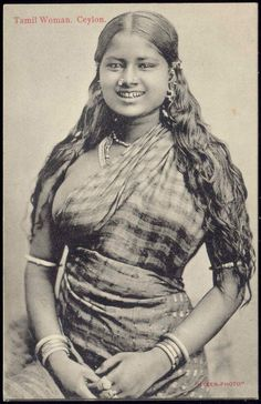 Postcard Volkstypen Sri Lanka, Blick auf tamilische Frau buy now for only - postally used corners bumped, corner crease on the bottom left, Vintage India, Sri Lanka, Nicky Larson, African Tribes, India Beauty, Vintage Photographs, Vintage Beauty, World Cultures, Body Modifications