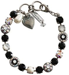 Mariana Silvertone Flower Shapes Crystal Bracelet 725 Black Crystal AB White 4044 M87280 >>> Learn more by visiting the image link.