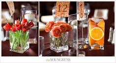 orange and brown #wedding #centerpieces - three styles: #tulips, #roses, and #orange slices, with floating #candles