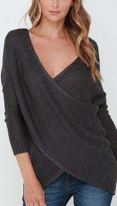 Grey Wrap Sweater ❤︎