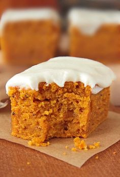 Pumpkin Bars with Cream Cheese Frosting | www.sugarapron.com | A perfect #Halloween treat spiced #Pumpkin #Bars, topped with #creamcheese frosting.