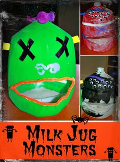 Train Up a Child: Milk Jug Monsters - Spooky Craft for Kids { Love these!!}