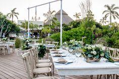 Surround your reception with lush greens at the Coco Cafe Deck here at Secrets Akumal Riviera Maya! #SecretsAkumalWedding #DestinationWedding #DeckReception #MexicoWedding