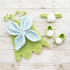 Crochet Baby Tinkerbell Fairy Princess Inspired Dress Bow Headband Shoes Set Costume Dress Up Handmade Disney Inspired Baby…