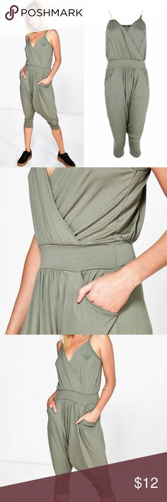 Wrapped Harem Jumpsuit Green Cuffed Capri Jumpsuit. Harem pants style. Worn once for a birthday. In great condition! Pants Jumpsuits & Rompers