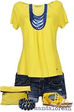 """Denim and yellow"" by mandalorean ❤ liked on Polyvore"