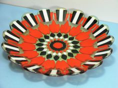 A beautiful decorative glass plate in Art-Deco style