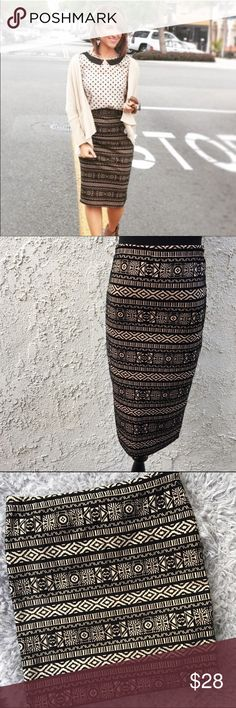 "🆕Black & Tan Printed Pencil Skirt Beautiful skirt! This is a re posh, I love it I just haven't worn it and need to clear out my personal closet! 90% polyester, 10% spandex. 14"" across the waist when lying flat & 27"" long. Lovely Day Skirts Pencil"