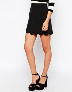 A Line Mini Skirt with Scallop Hem