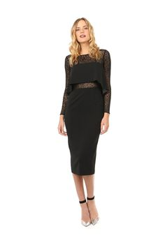 JUNO LACE SLEEVE MIDI  was $398 now $199  LONG SLEEVE MIDI DRESS WITH FLORAL LACE DETAIL FEATURED ON SLEEVES, NECKLINE AND MID SECTION. SOPHISTICATED STYLE FEATURES A BOAT NECK LINE AND LONGER LENGTH SKIRT. BODICE OVERLAY IN MID SECTION ALLOWS LACE DETAIL TO PEEK THROUGH. BACK FEATURES A HIDDEN ZIPPER AND VENT AT HEMLINE.    98% POLYESTER 2% SPANDEX DRY CLEAN ONLY