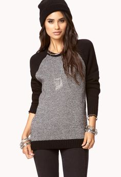 Elbow Patch Raglan Sweater | FOREVER21 - 2072330881