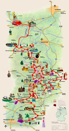 Germany's Fairy Tale Road. A Grimm fairy tales map takes you to all the different towns related to the wonderful tales of the Brothers Grimm.  For more details see http://en.wikipedia.org/wiki/German_Fairy_Tale_Route