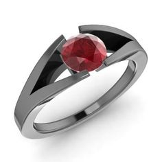 Round Ruby Ring in 10K Black Gold #ring #beautifulring #blackgoldring