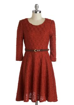 Frolicking the Farm Dress. Strolling through rows of fresh crops in this knit brick-red frock, youre the perfect picture of serenity! #red #modcloth