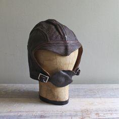 Vintage Hat Leather Military Cap d1eafd6e9e3