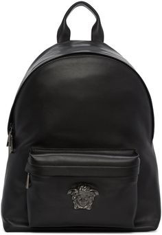 6e260e1cb452 Versace Black Leather Medusa Backpack - ShopStyle