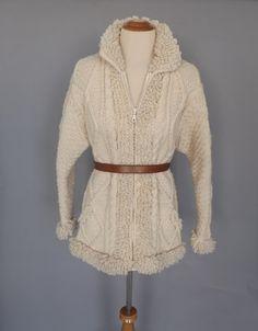 Vintage 1970s Cream Cable Knit Sweater Jacket Irish Wool Cardigan Fall Southwestern Sweater Coat  Boho Hippie Women Woodland 70s Jacket