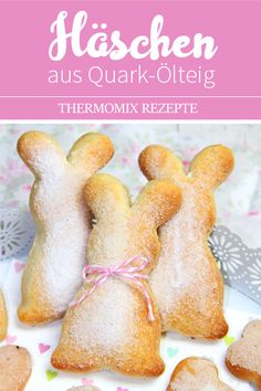 Bunny made from quark oil dough. Easter sweets from the Thermomix. - These bunnies are an absolute eye-catcher and a snap. Perfect for spontaneous visits or if you just - Baking Recipes, Dessert Recipes, Desserts, Baking With Kids, Easter Recipes, Tasty Dishes, Sweet Recipes, Crockpot Recipes, Food And Drink