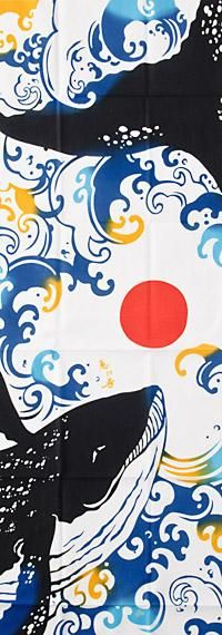 Love the stylised waves in this Whale Tenugui...