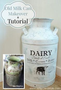 Old Milk Can Makeover - artsychicksrule.com #milkcan #diy