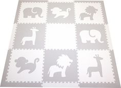 Play Mat Set w/ Borders - Light Gray/White also comes in tan/white $120