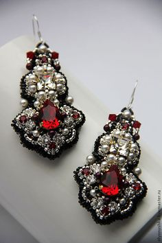 с кристаллом и канителью Bead Jewellery, Seed Bead Jewelry, Bead Earrings, Statement Earrings, Diy Jewelry, Beaded Jewelry, Jewelery, Fashion Jewelry, Jewelry Making