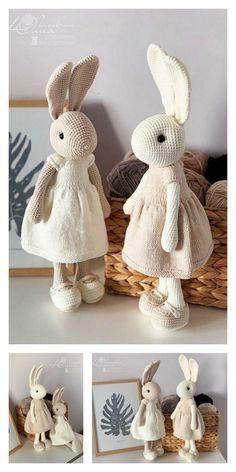 Crochet Bunny Pattern, Crochet Rabbit, Crochet Amigurumi Free Patterns, Crochet Animal Patterns, Stuffed Animal Patterns, Crochet Afghans, Crochet Blankets, Crochet Stitches, Easter Crochet