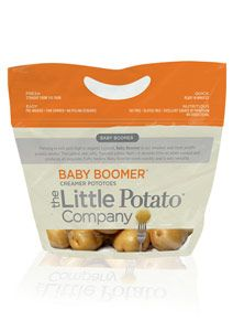 Baby Boomer - Thriving in rich soils, Baby Boomer is our smallest proprietary potato variety! Thin yellow skin, flavourful yellow flesh – it absorbs little oil when cooked and produces an exquisite, fluffy texture. Cooks quickly and is great for roasting.