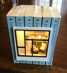 Modern Bookhouse //bookbox // fully furnished lighted Bookshelf Dollhouse // Dollhouse in books Homemade Dollhouse, Battery Operated Led Lights, Miniature Rooms, Book Nooks, Diy Clay, Craft Storage, Altered Books, Bookshelves, Christmas Diy