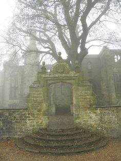 Messel family's mansion ruins in the Nymans garden, Sussex - The ruined house remains a garden feature.