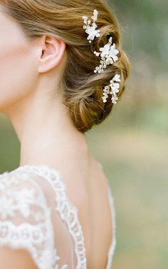 Beautiful Bridal Hair Pins of Shimmering Pearls, Clear Crystals and Life Like Flower Buds Add To Any Updo!!