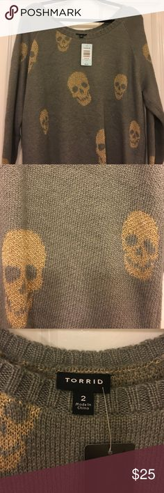 Torrid plus size 2 skull sweater This is a NWT sweater with shiny gold skulls! Never been worn!! torrid Sweaters Crew & Scoop Necks