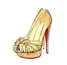 "Watercolor Fashion Illustration, Christian Louboutin ""Aborina"" Gold Art Print Decor. $10.00"