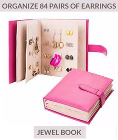 Picture of jewelry travel organizer-litte book design pu leather jewelry earing storage,pink Earring Storage, Jewellery Storage, Jewellery Display, Necklace Storage, Jewellery Stand, Silver Jewellery, Book Jewelry, Jewelry Case, Jewelry Tray