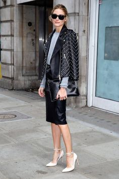 Olivia Palermo wearing Gianvito Rossi Ankle Strap Pumps, Rebecca Minkoff Pearl Embellished Wes Moto Jacket, Italia Independent Velvet Stud IV-Rock Sunglasses and