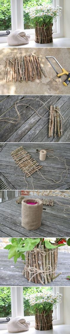 Twig Flower Pot ~ would also be a good idea to wrap around a lamp for a rustic…