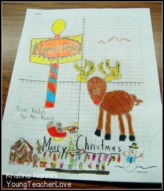 Christmas Coordinate Graphing Mystery Pictures - Work on ordered pairs in your math lessons with this great holiday download. It's great for your upper elementary, middle or high school students. Differentiated options mean students can work with whole numbers, decimals, negative numbers, and more. Click through to see how you can use this with your 4th, 5th, 6th, 7th, 8th, or 9th grade classroom or homeschool students. #YoungTeacherLove #Christmas