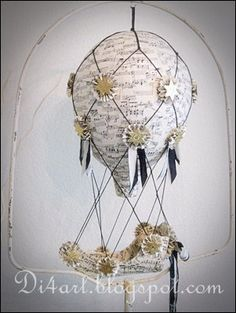 Hot Air Balloon with Ship Paper Mache by vintagediana on Etsy, $165.00