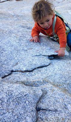 Rock climbing baby. Cute!