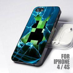 Minecraft Creeper Glass Broken Art design for iPhone 4 or 4s case