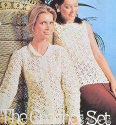 PDF crochet jumper cardigan vintage crochet pattern pdf instant download pattern only pdf 1970s