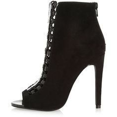 River Island Black lace-up peep toe heeled shoe boots ($120) ❤ liked on Polyvore featuring shoes, boots, ankle booties, black, high heels stilettos, black lace up ankle booties, lace up peep toe booties, black stilettos et high heel booties