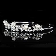 Vintage Charming Design Wedding Bride Handmake Headband Cown Pearls Hair Accessior Flower Silver 4404229 2016 – $10.99