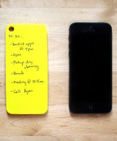 jotting down notes and numbers the good-old-fashioned way, this simple solution sticks right to the back of an iPhone to keep reminders read...