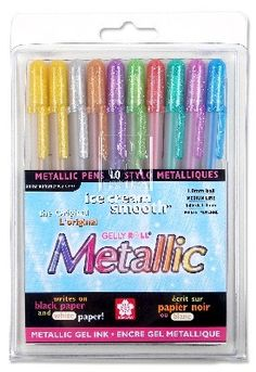 Sakura 57370 Gelly Roll Blister Card Assorted Colors Metallic Gel Ink Pen Set for sale online Gel Ink Pens, Scrapbook Supplies, Scrapbooking, Pen Sets, Black Paper, Writing Instruments, Ballpoint Pen, School Supplies, Art Supplies