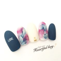 teal, pink & cream watercolor manicure