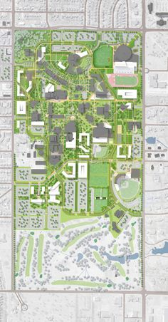 Wichita State University Master Plan, Wichita, KS  I was inspired by the Wichita State Campus by the axial organization as well as some of the more organic radial organization.