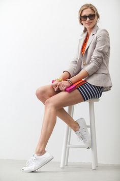 Love the mix of business and casual with the shoes.