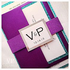 Purple Wedding Invitations/Purple and Teal Wedding by VPElegance